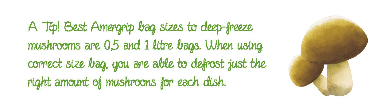 Deep freezing tip for mushrooms